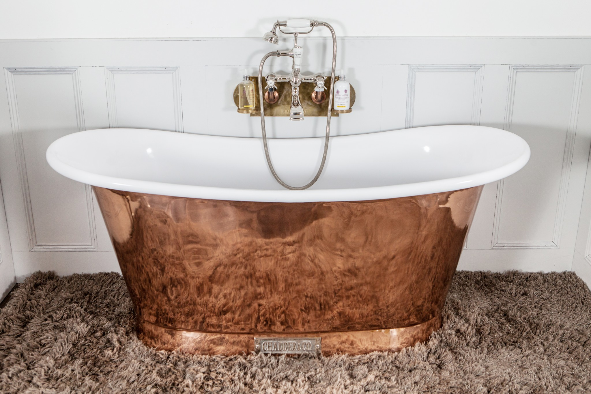 Houzz bathroom showers - Royal Copper Bath With White Interior Chadder Amp Co