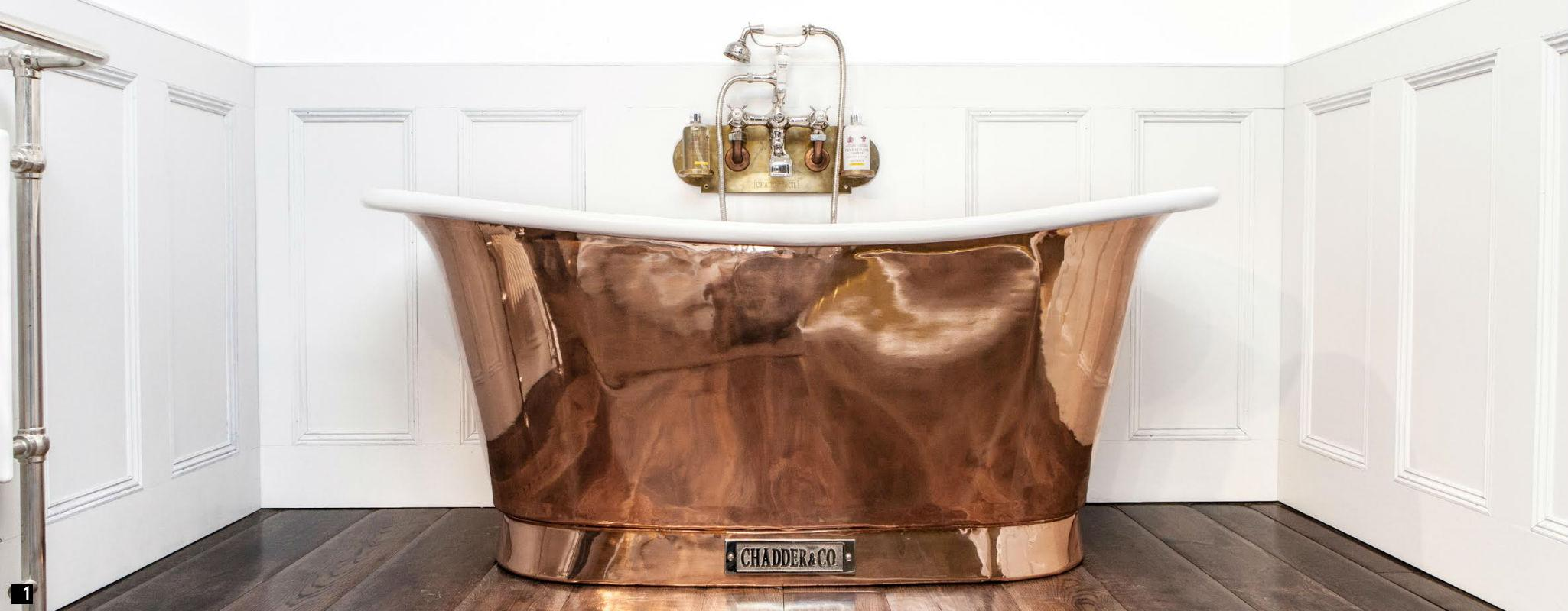 Vintage Copper Bath with Enamel Interior