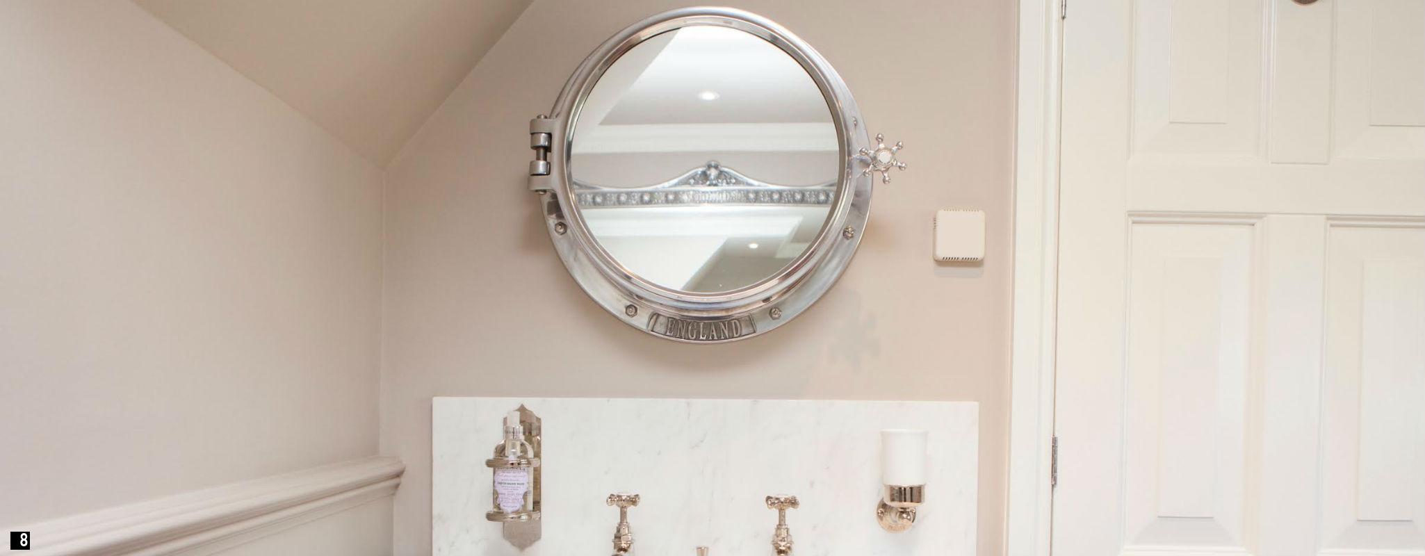 Porthole mirrors product categories chadder co for Heated bathroom mirror cabinet