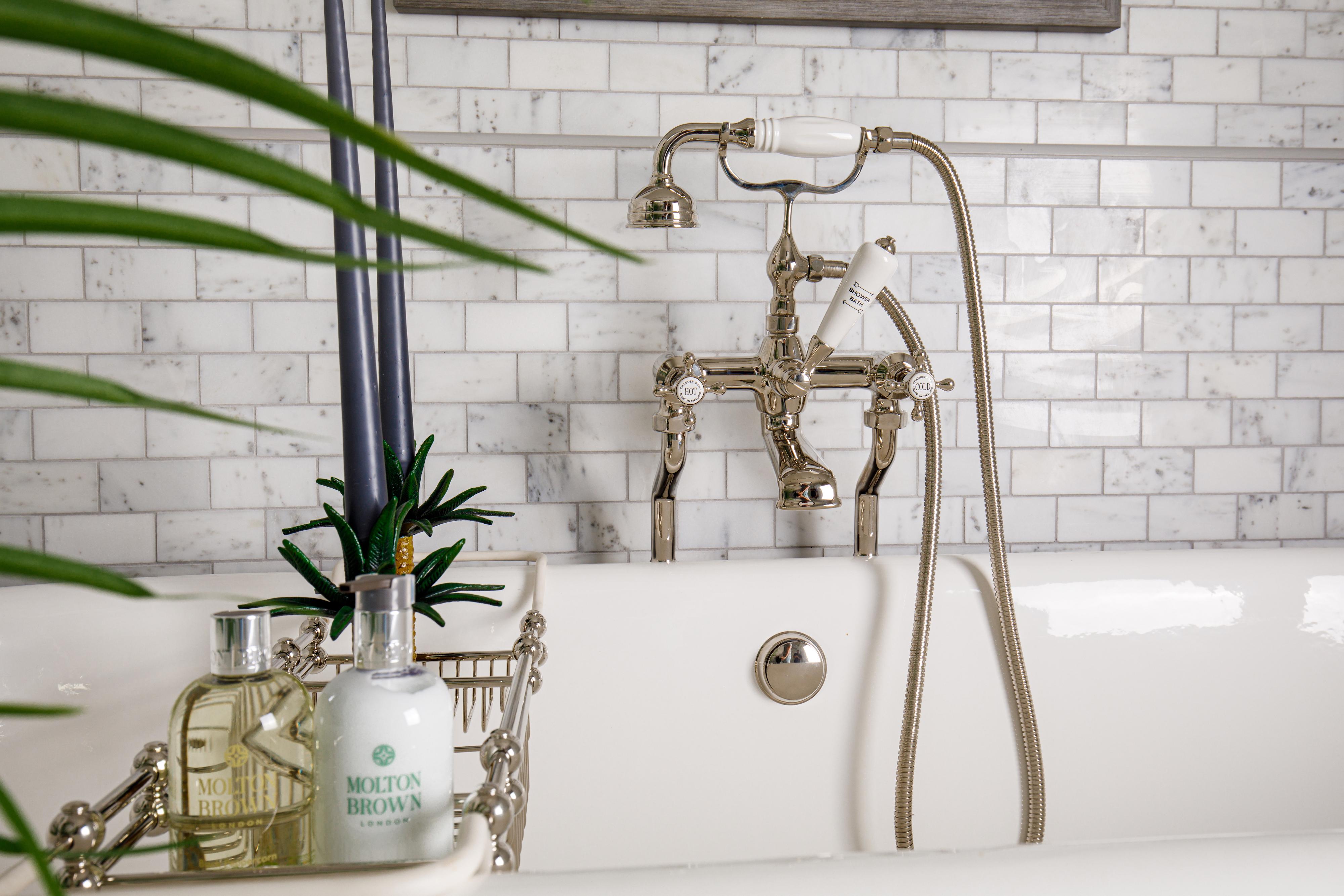 bath shower mixer in nickel finish