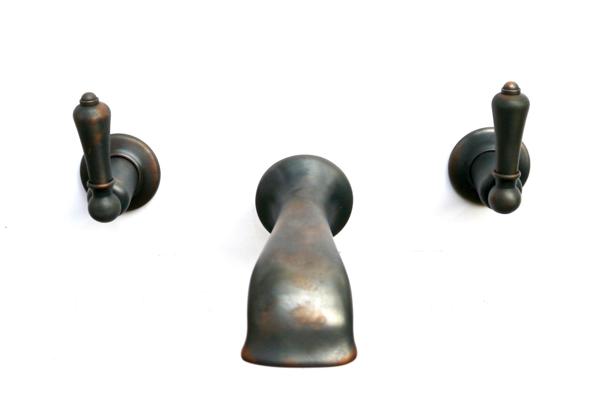 BSM 103 Wall Bath Filler in Weathered Copper finish with Metal Leavers