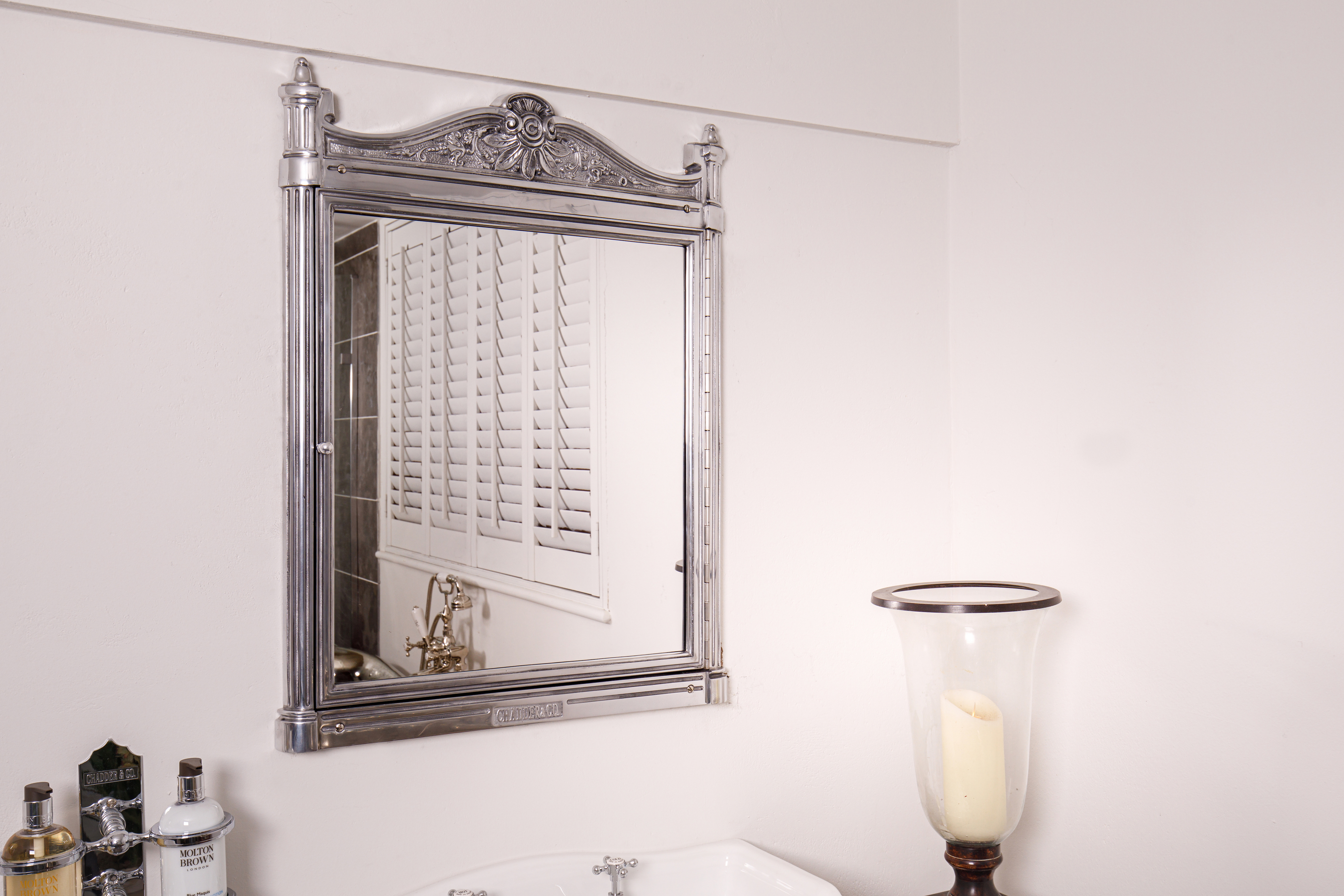 Traditional style bathroom metal mirror in wall cabinet