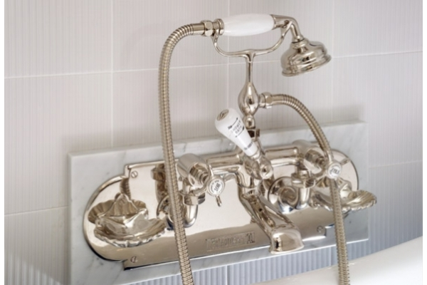 Chadder BSM 100 Wall Bath Shower Mixer Nickel Finish, Backplate with Soap Dishes.