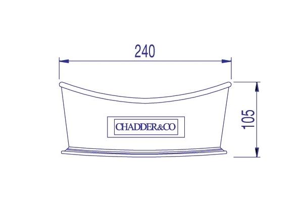 Dimensions of The Chadder Miniature Bath.