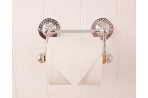 R1 Toilet Roll Holder Chrome, Wooden Rod