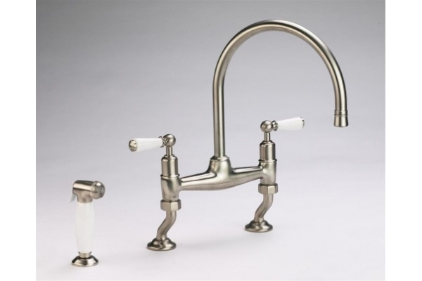 Kitchen Mixer and Rinser in Brushed Nickel/Satin Nickel Finish.