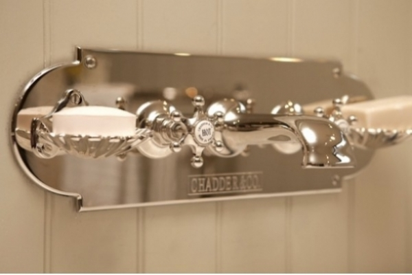 Chadder Luxury BSM 103 Bath filler on backplate with shell soap dishes. Available with Penhaligon's holders.