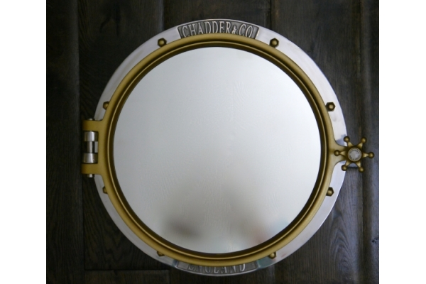CHADDER Porthole Surface Mounted Cabinet, Polished finish with Royal Gold Nuts and handle. Customised Porthole Cabinet