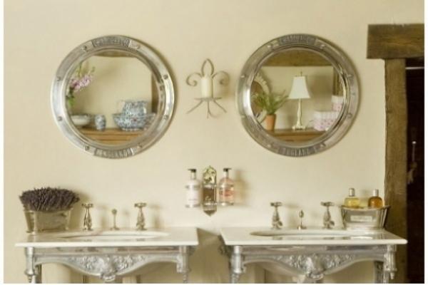 Porthole Mirror, Chadder Porthole above Chadder Blenheim Basin Frames.
