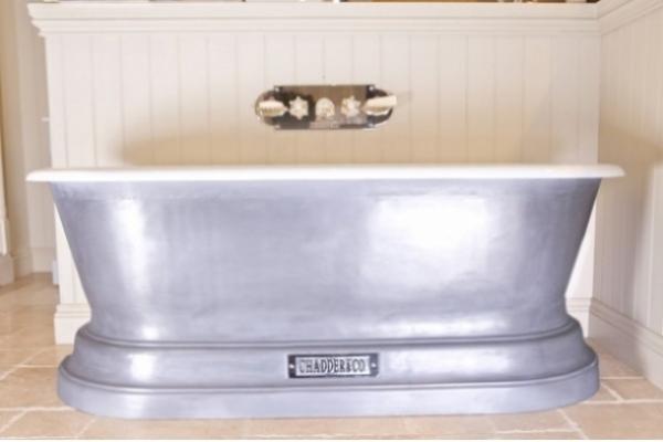 Chadder Churchill Chadite Bath, Iron Age Effect, Polished Cast Iron Metal Effect exterior.