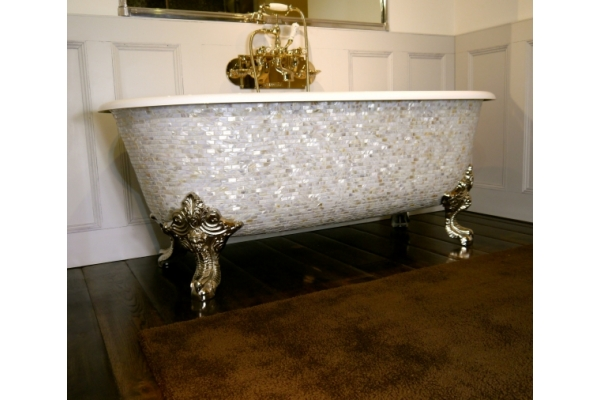 Chadder Blenheim Bath with Brick Mother of Pearl Mosaic exterior.