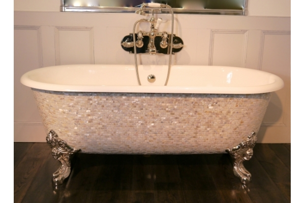 Mosaic bath. Chadite Blenheim Bath covered in Brick Mother of Pearl Brick Mosaic  Exterior. Mosaic tub.