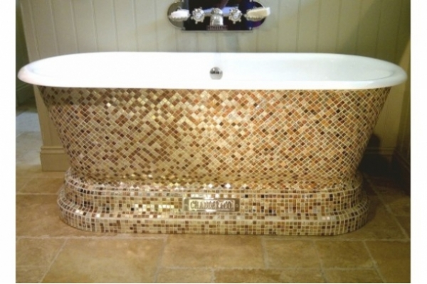Chadder Windsor Double ended Bath with Gold and Fossilised Mosaic Windsor.