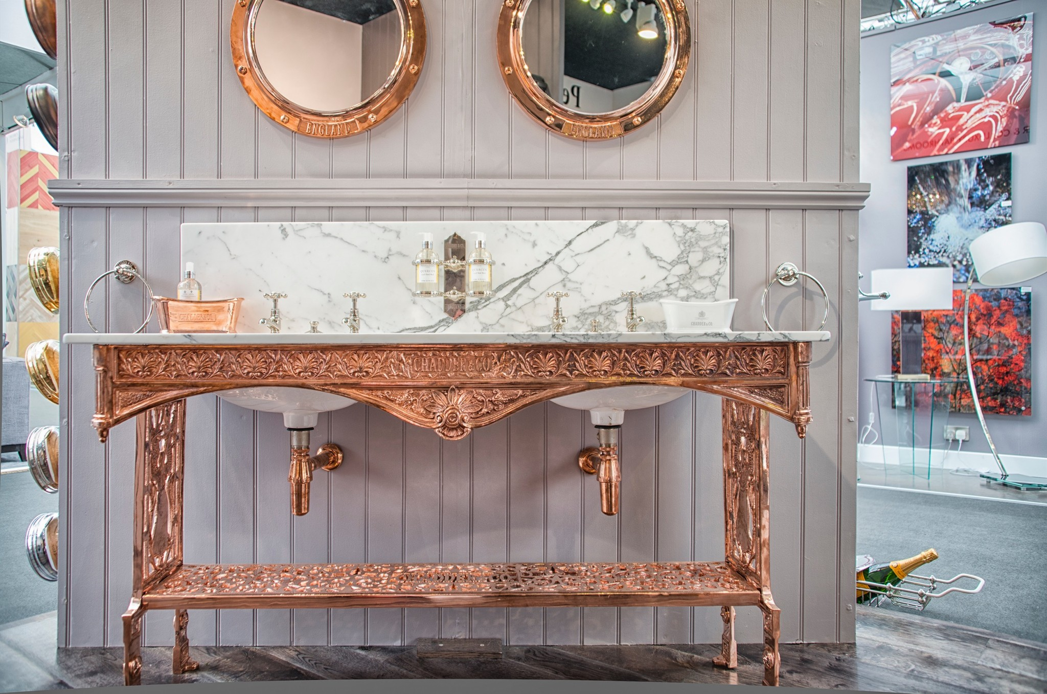 Chadder Coronation Double vanity unit, in bespoke Copper plate finish