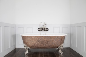 Blenheim Bath with square Weathered Copper Mosaic Exterior.
