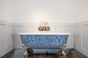 Blenheim Bath with Ocean Blue Pearl Mosaic Exterior.