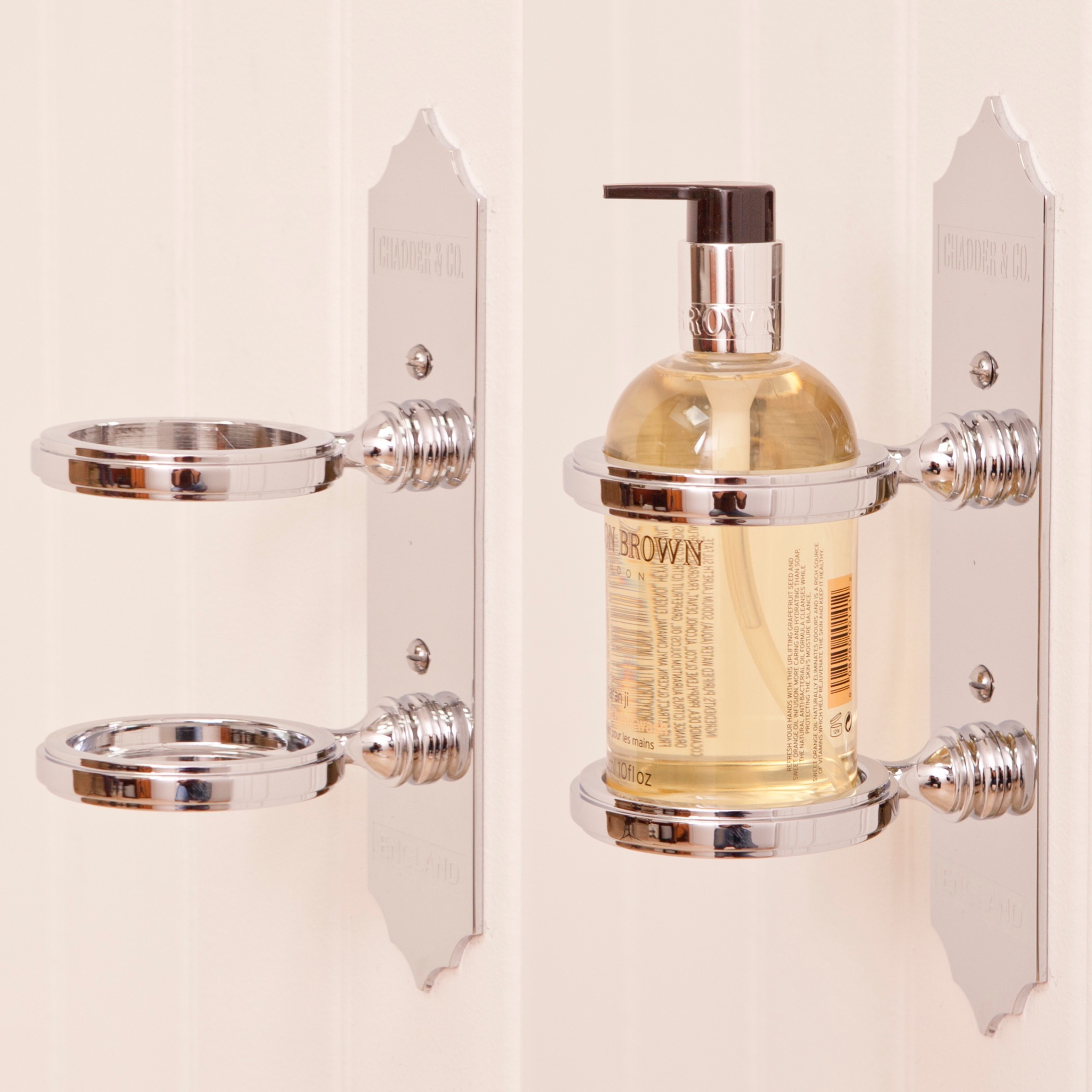 molton brown soap holder penhaligons bottle holder bathroom accessory chrome nickel