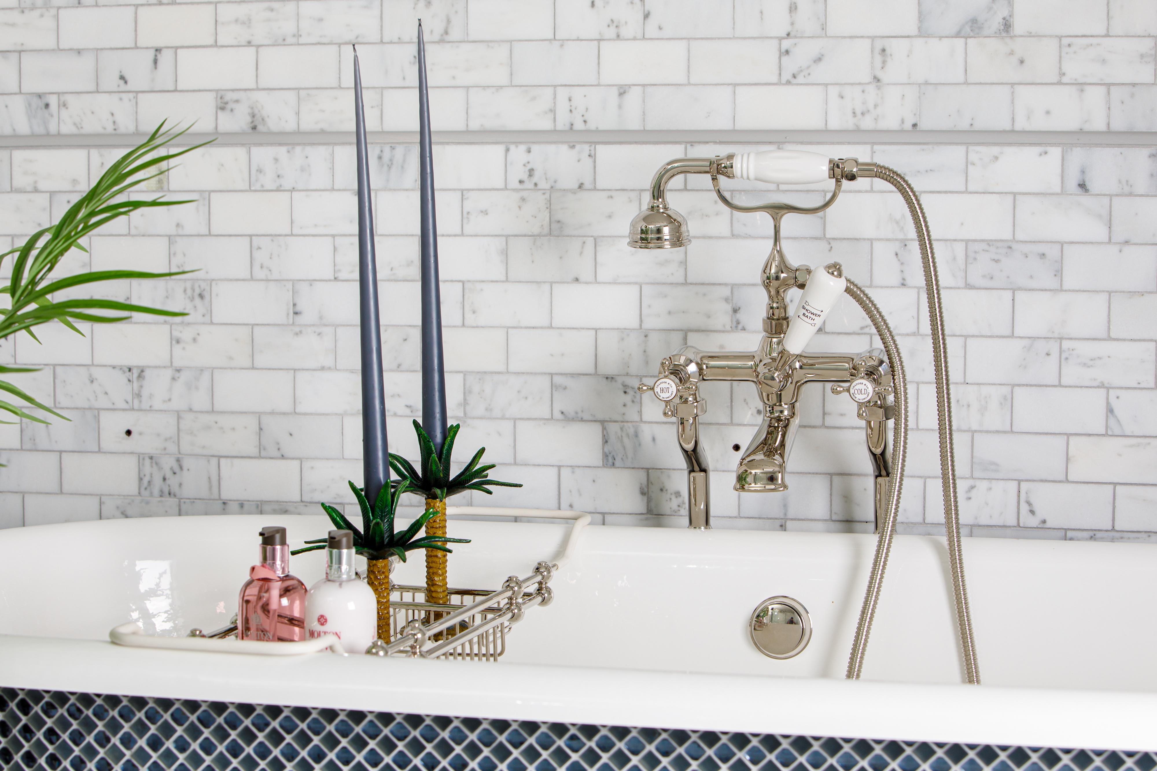 bath shower mixer in nickel finish traditional bathroom design