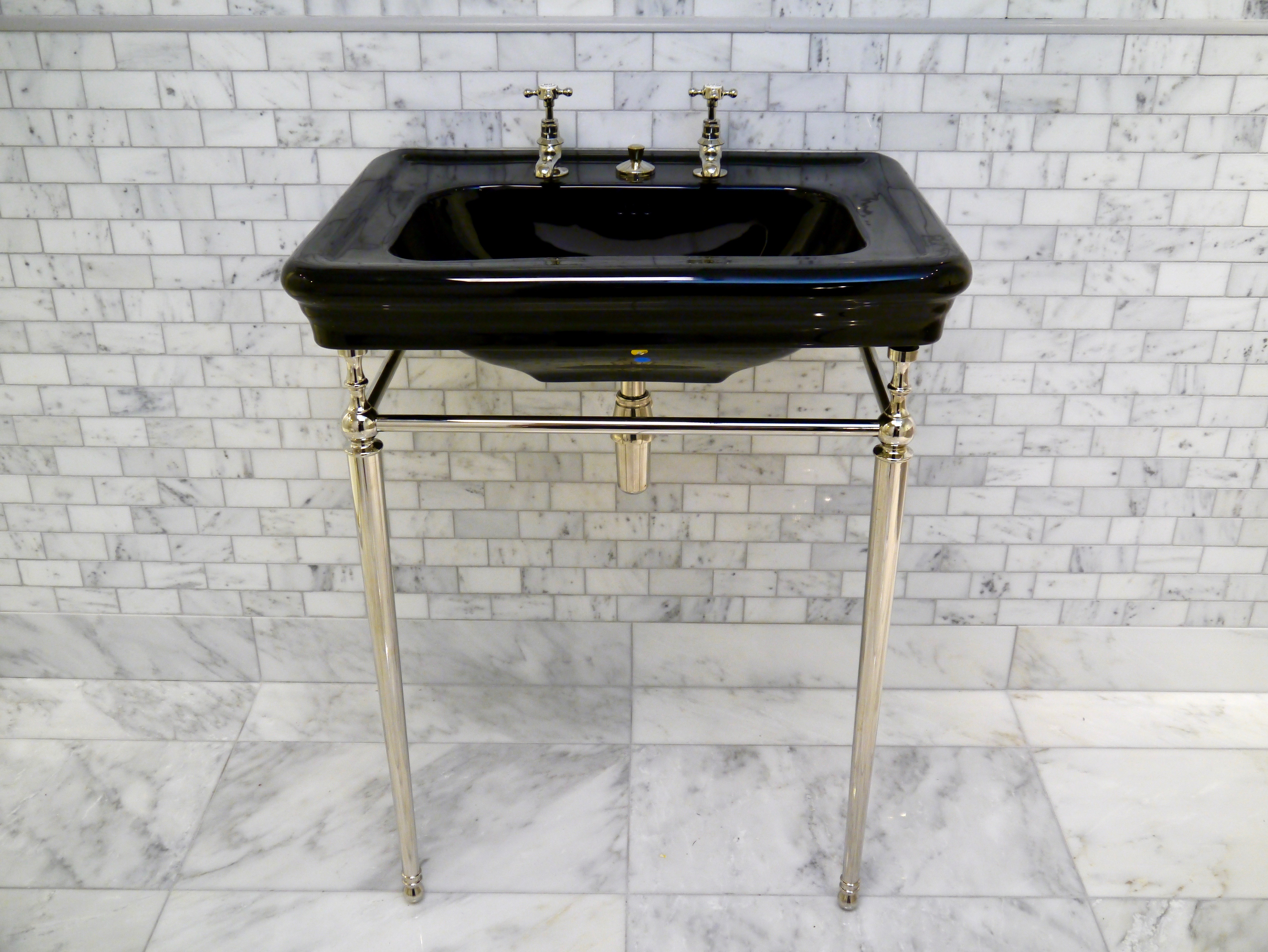 black basin on nickel frame traditional bathroom design