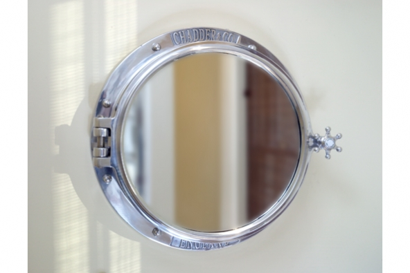 chadder porthole mirror cabinet in polished metal finish535mm diameter