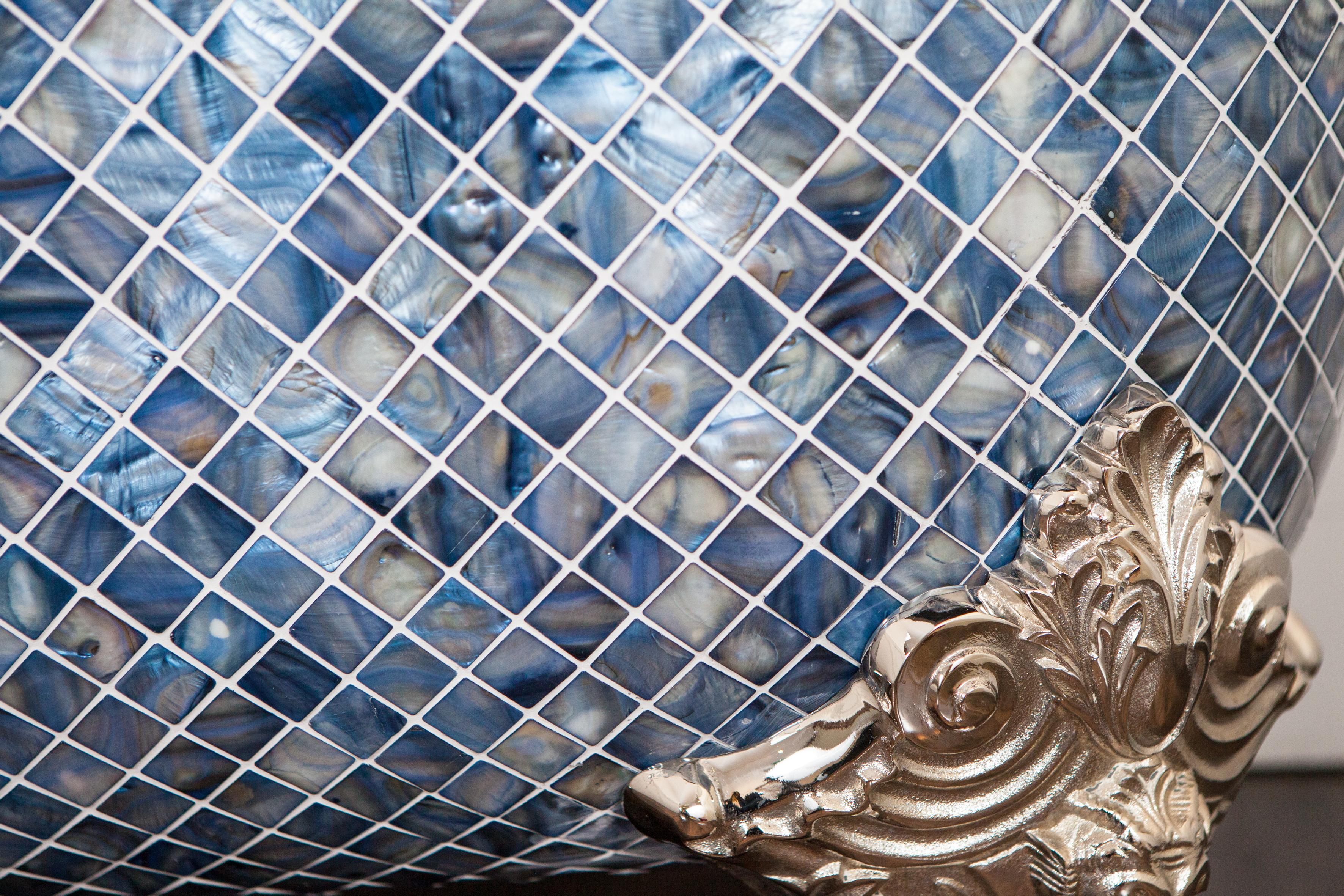 Blenheim Bath with Ocean Blue Pearl Mosaic exterior.