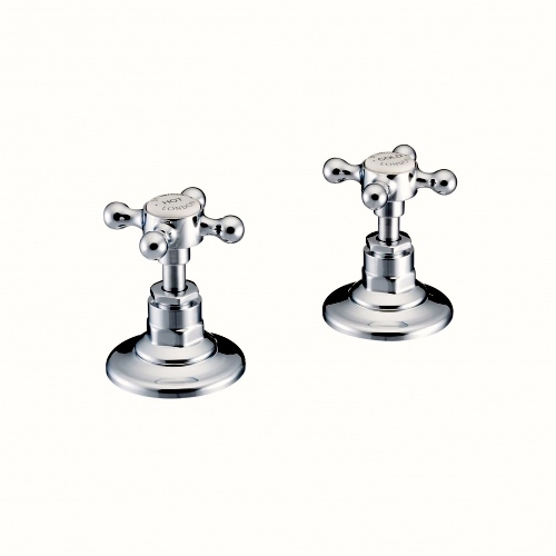 Hot & Cold Tap Valves. In Chrome finish.