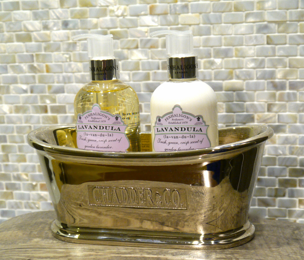 Luxury gold bathroom soap and bottle holder Chadder & Co