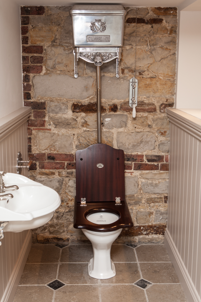 Vintage luxury traditional interior design toilet cistern cloakrom chadder and co