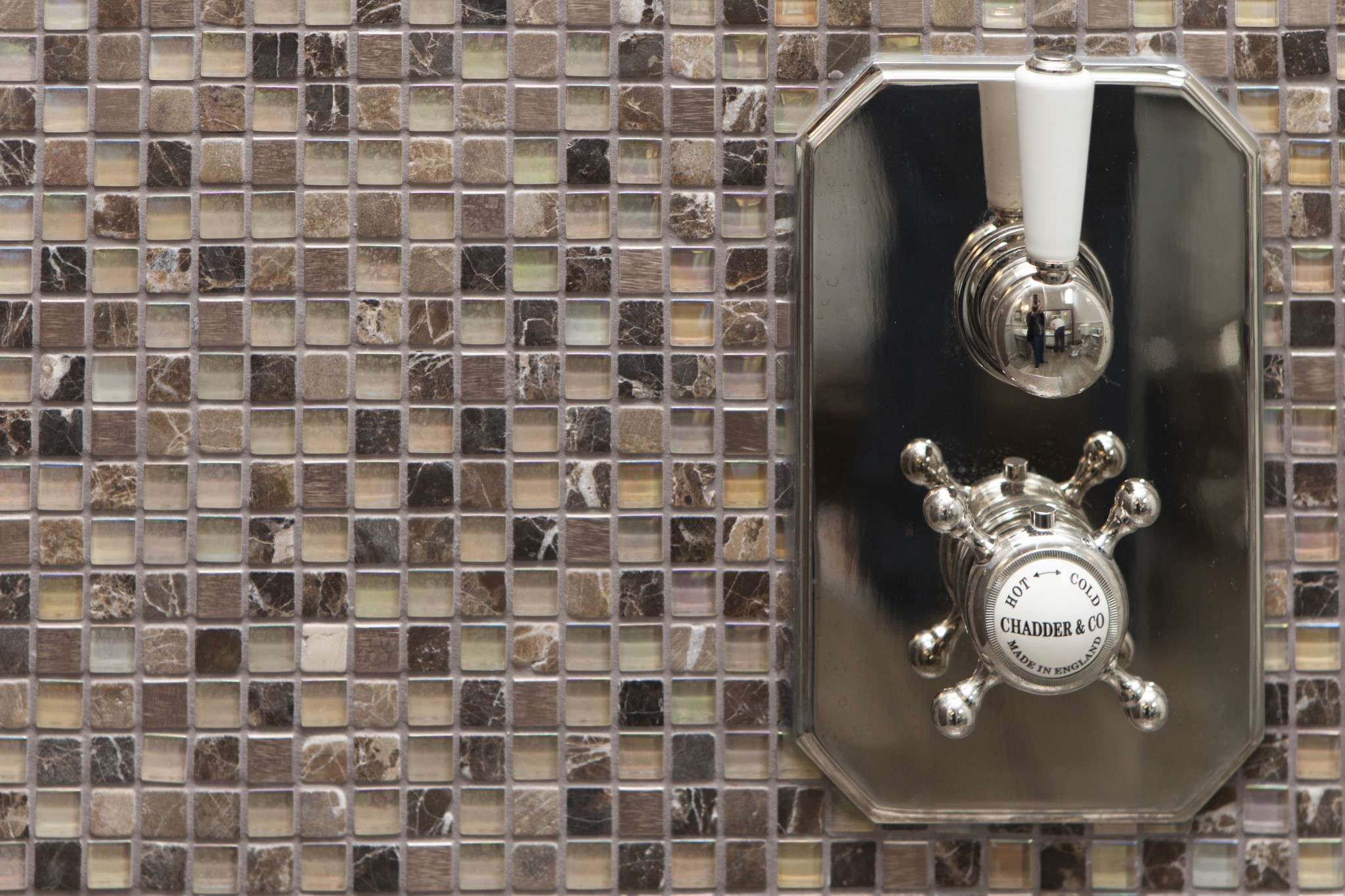 shower valave shower mosaic tiles marble luxury chadder nickel