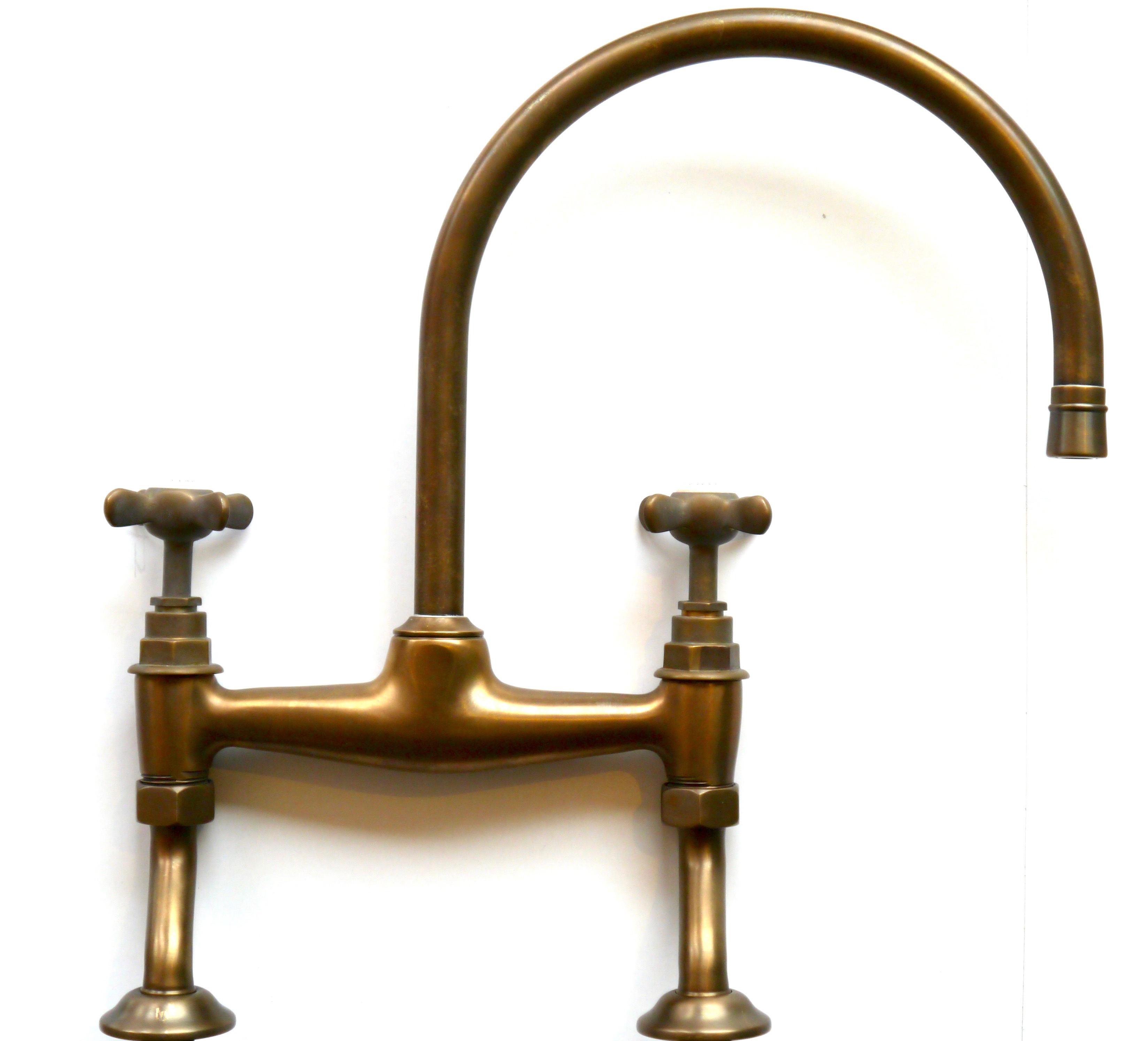 kitchen mixer tap in weathered brass finish with cross heads