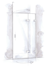 Shower Door Hinged off Inline Panel