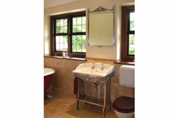 Blenheim Mirror in Polished metal above the Blenheim Basin on Blenheim Frame.