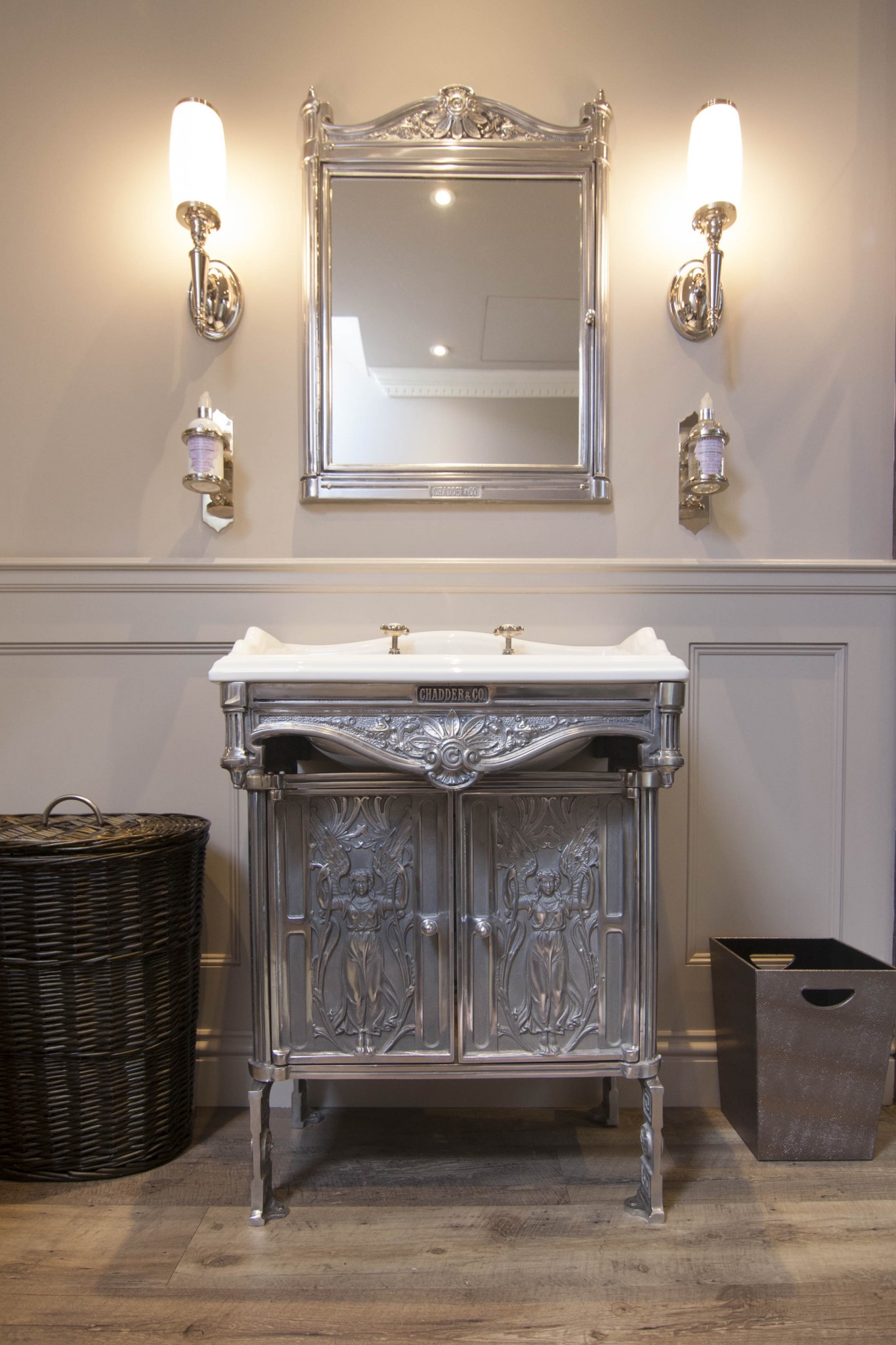 Chadder Blenheim basin cabinet with doors. Chadder Blenheim in wall mirror cabinet above with Chadder A6 nickel soap holders either side. Nickel finishes.