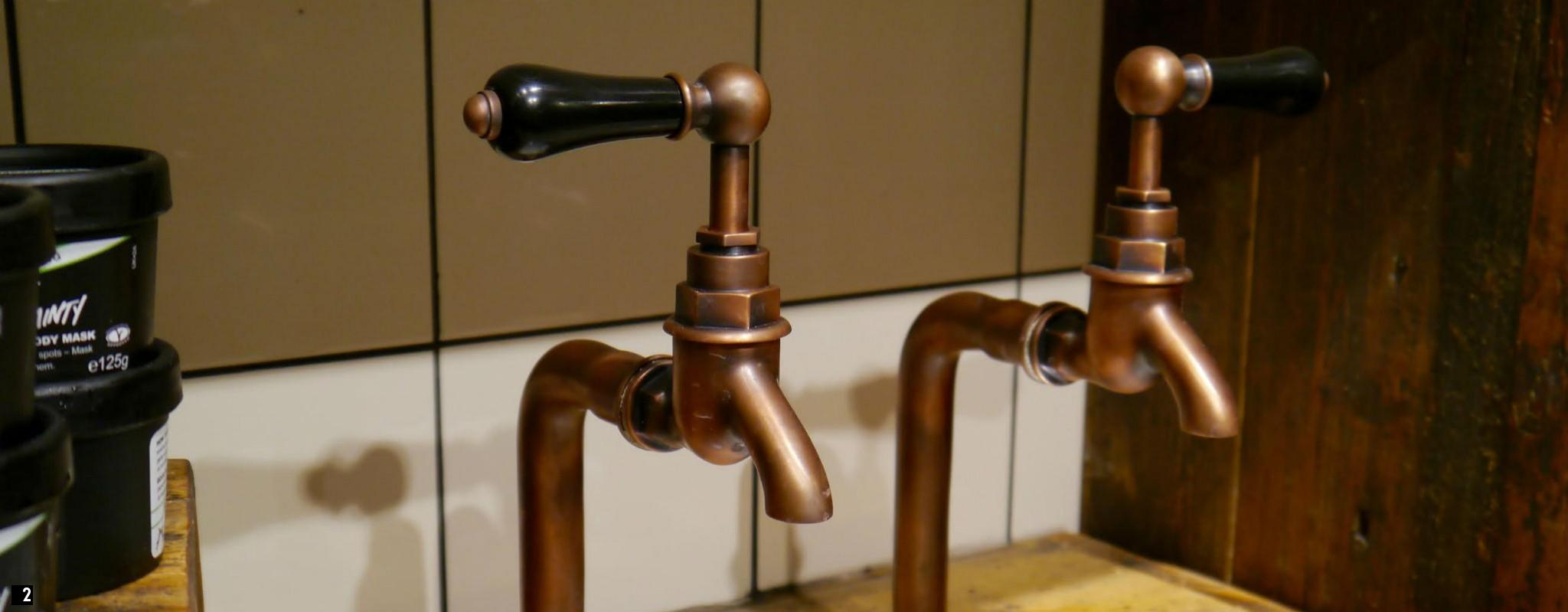Chadder French Copper Kitchen Bib Taps , Black Levers Copper faucet bathroom