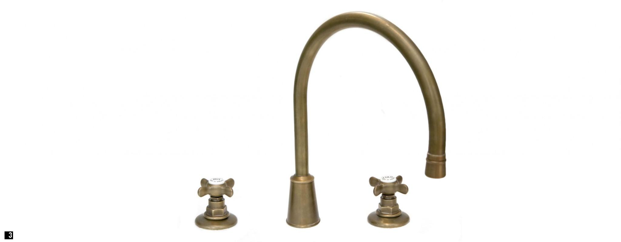 Weathered Brass Kitchen Taps and Brass and Copper Bib Taps, Bespoke Copper Bib Taps
