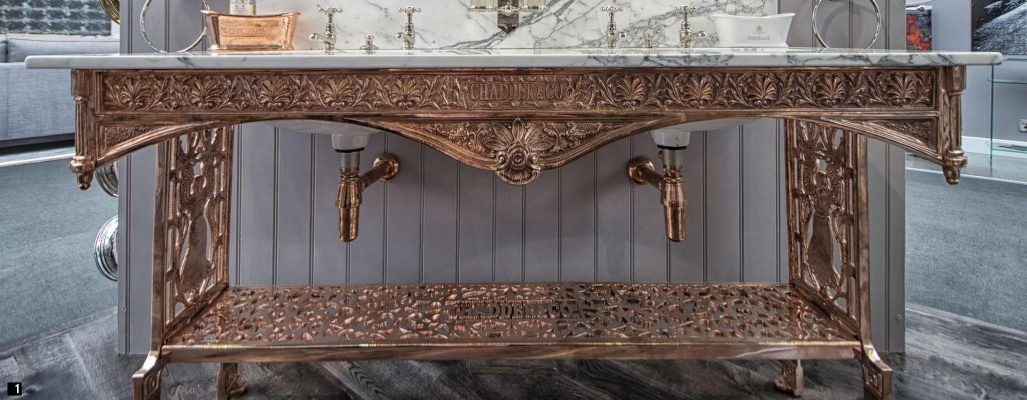 Chadder Vintage Copper Washstand with Marble Top Nickel Taps , Victorian Marble Copper Washstand