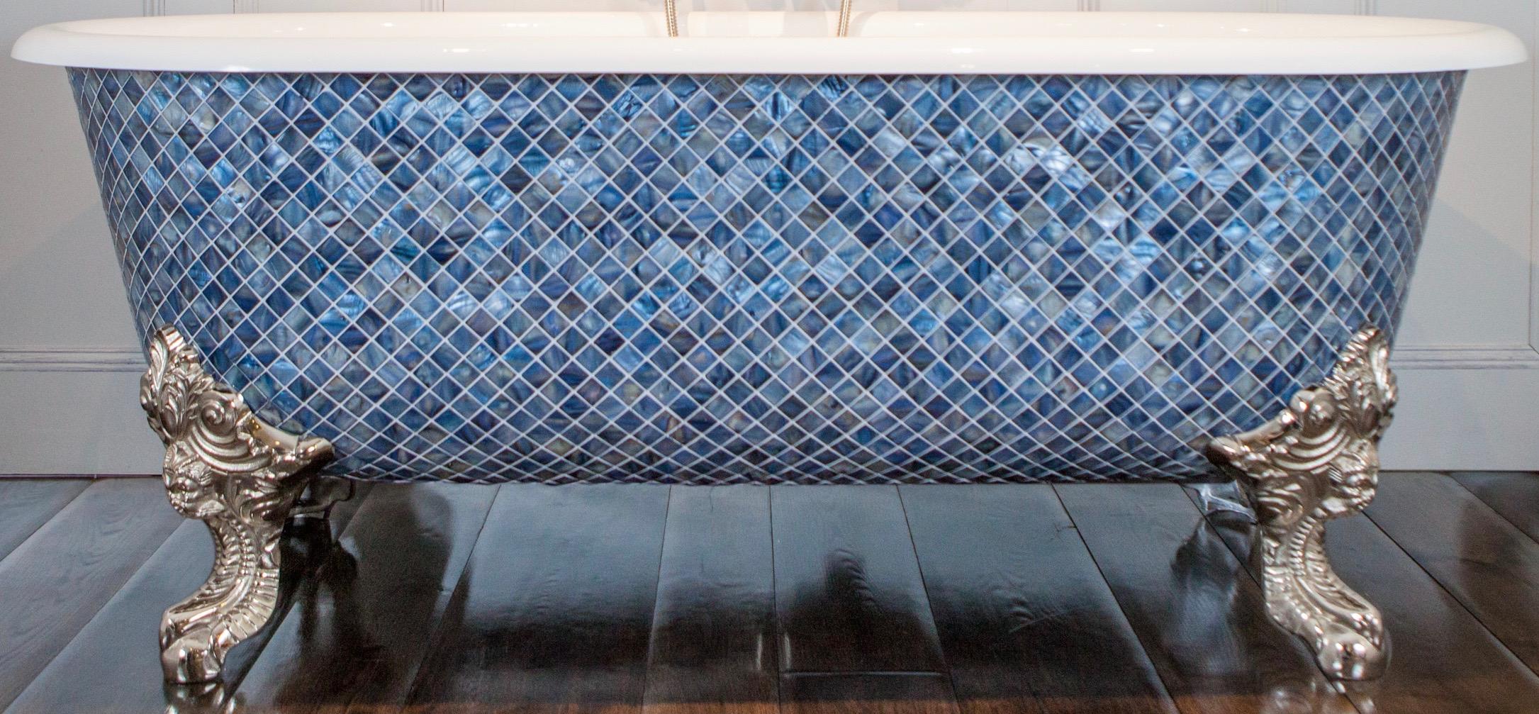 free standing blenheim bath blue mother of pearl mosaic exterior