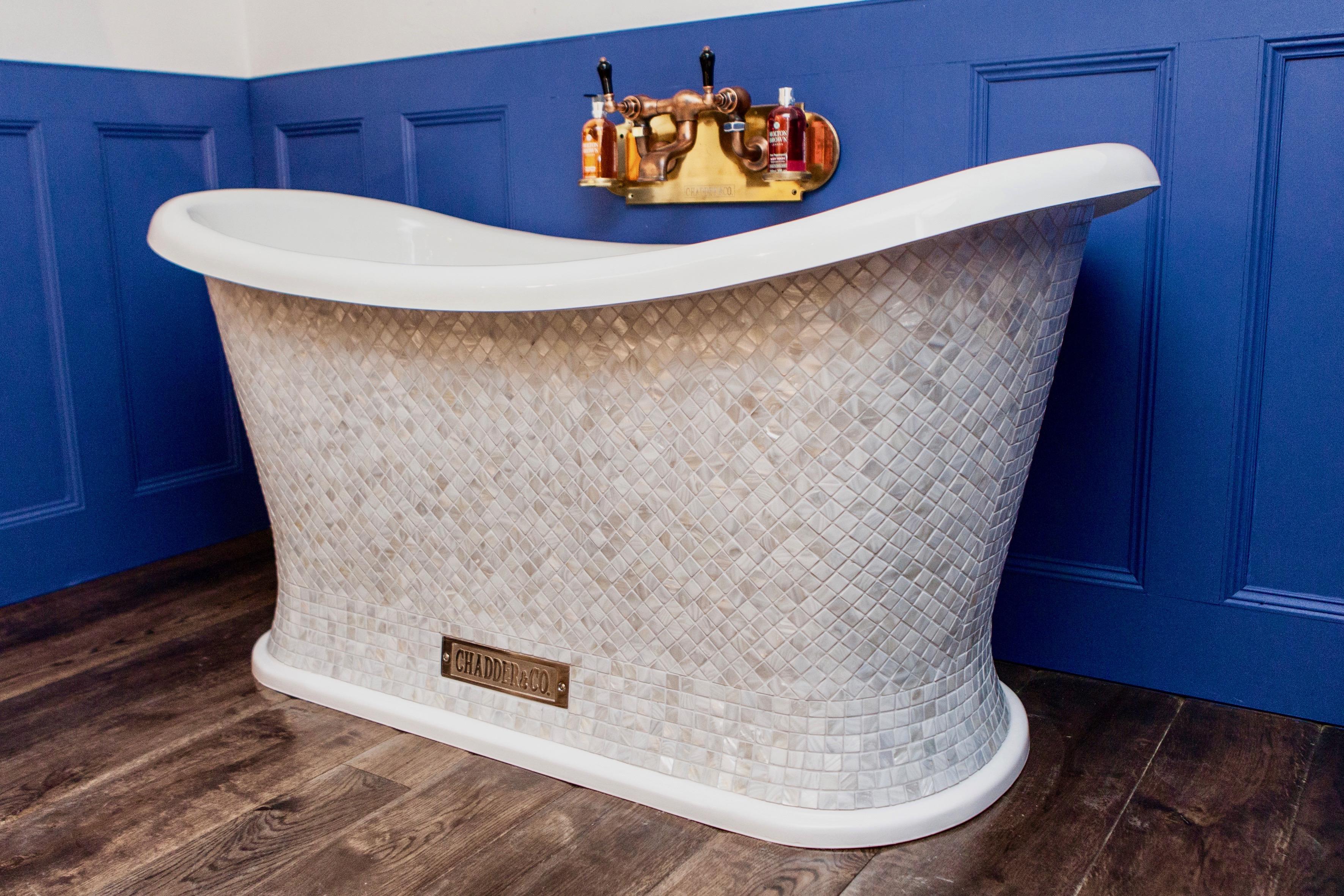 luxury mother of pearl mosaic bath free standing bath