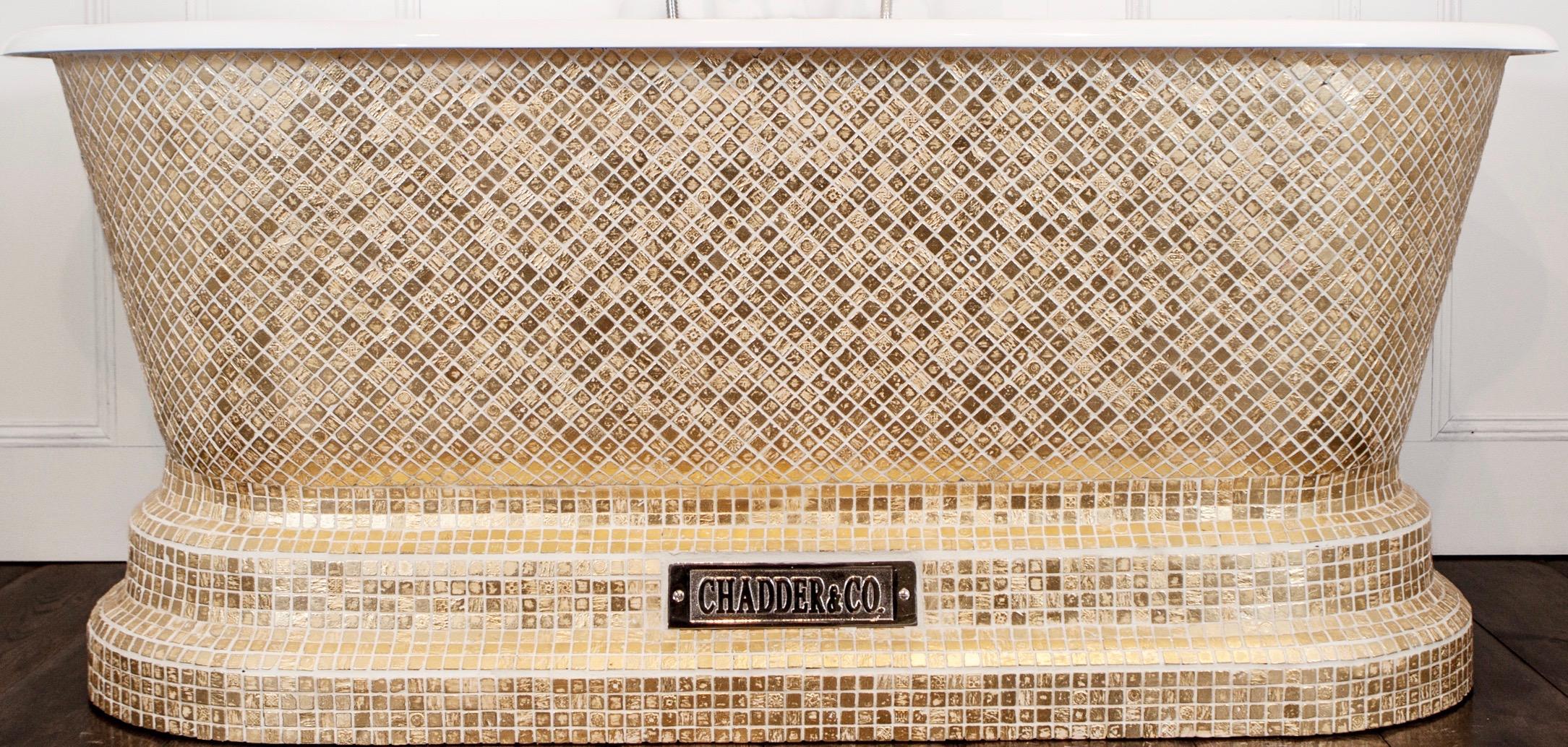hand made, bespoke bath, luxury bath, mosaic bath, mosaic tub, gold bath