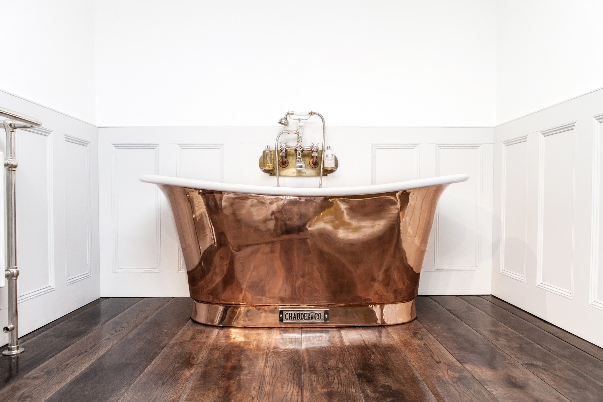 Royal Copper Bath with White enamel interior.