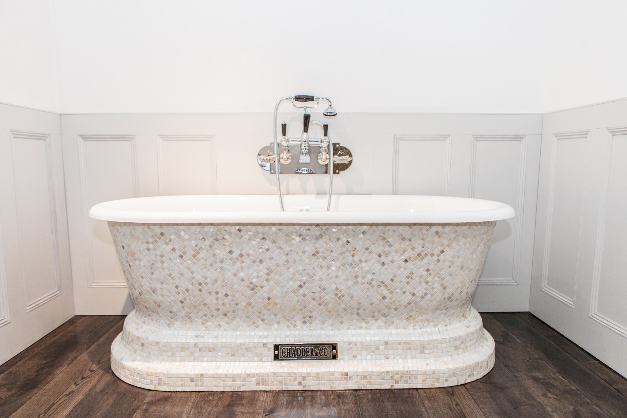 Beautiful Bathroom Ideas From Pearl Baths: Churchill Bath With Mother Of Pearl Mosaic Exterior