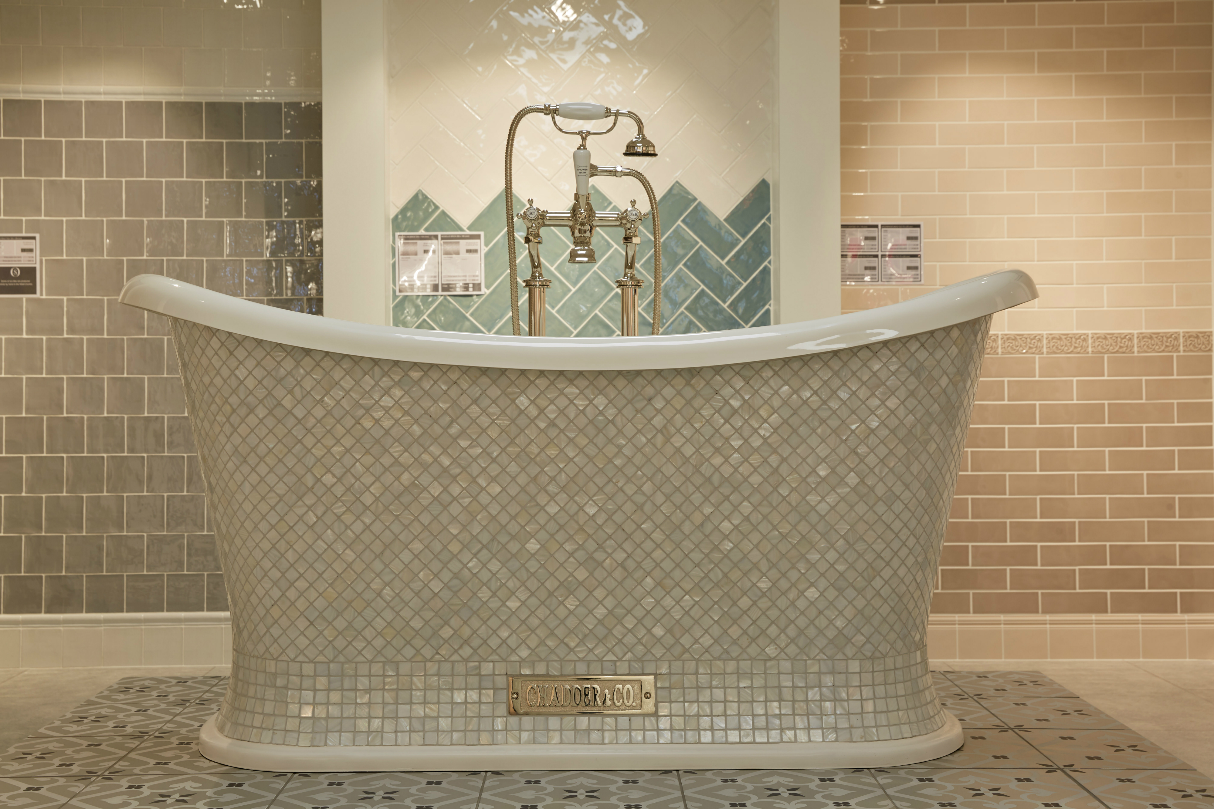 bath tub with pearl mosaic exterior traditional style bath