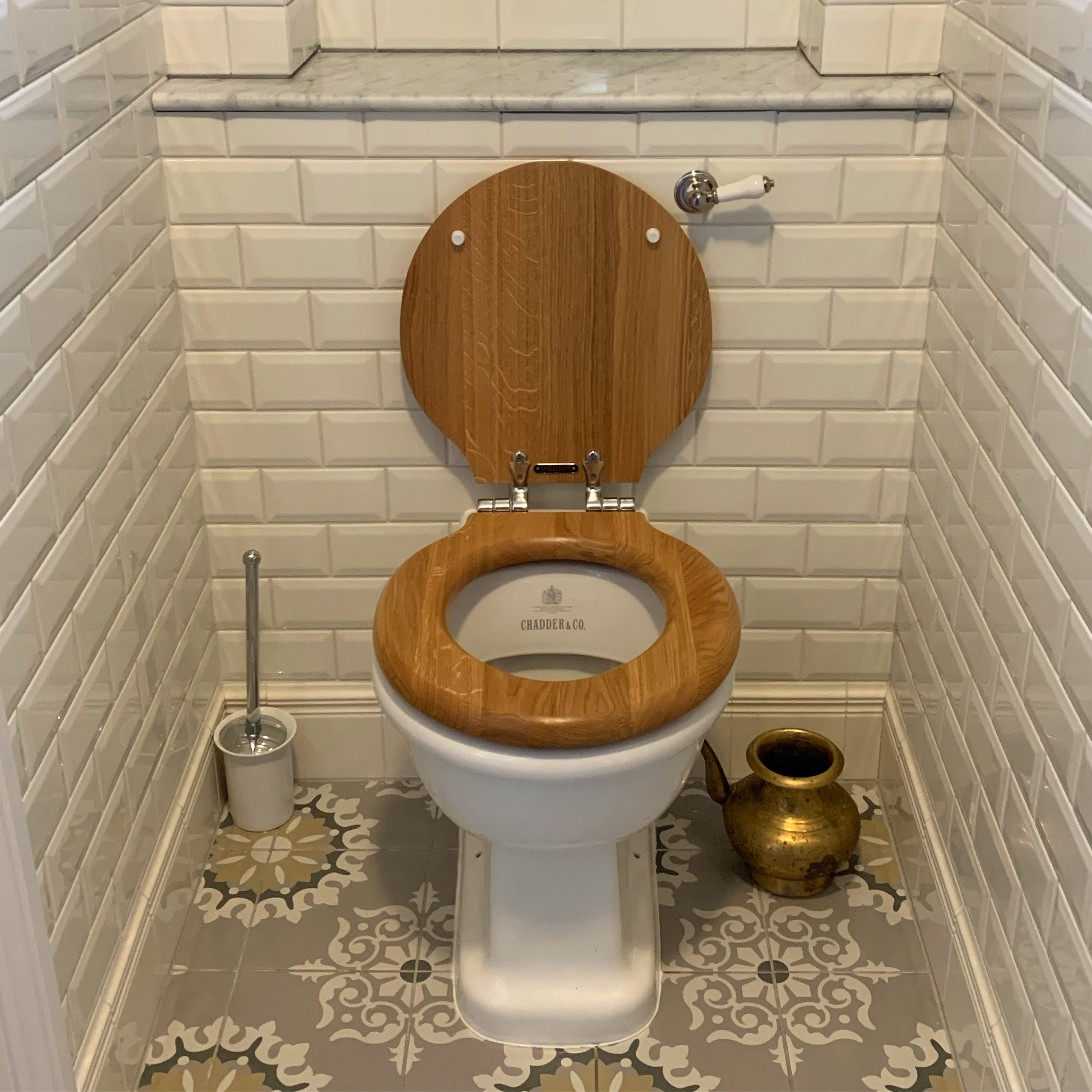 victorian style back to wall toilet with oak seat