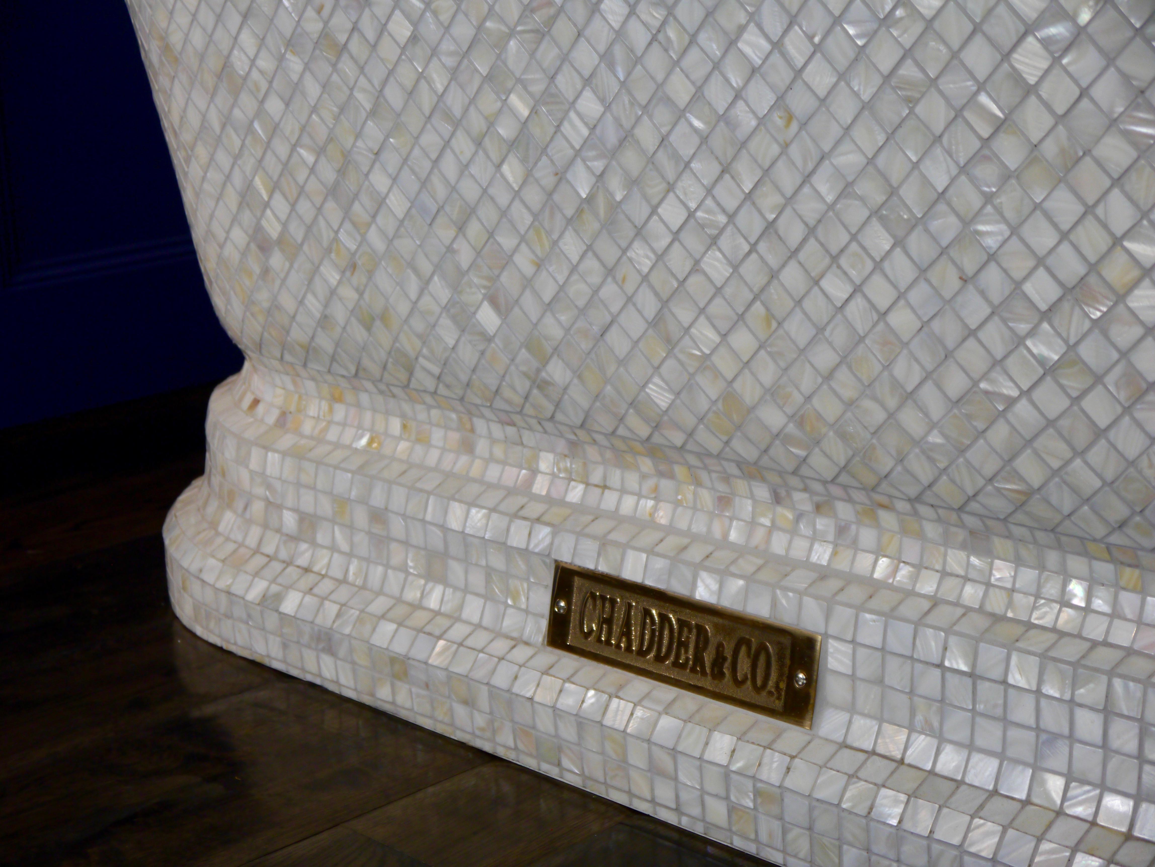 wood floor pearl mosaic bath tub