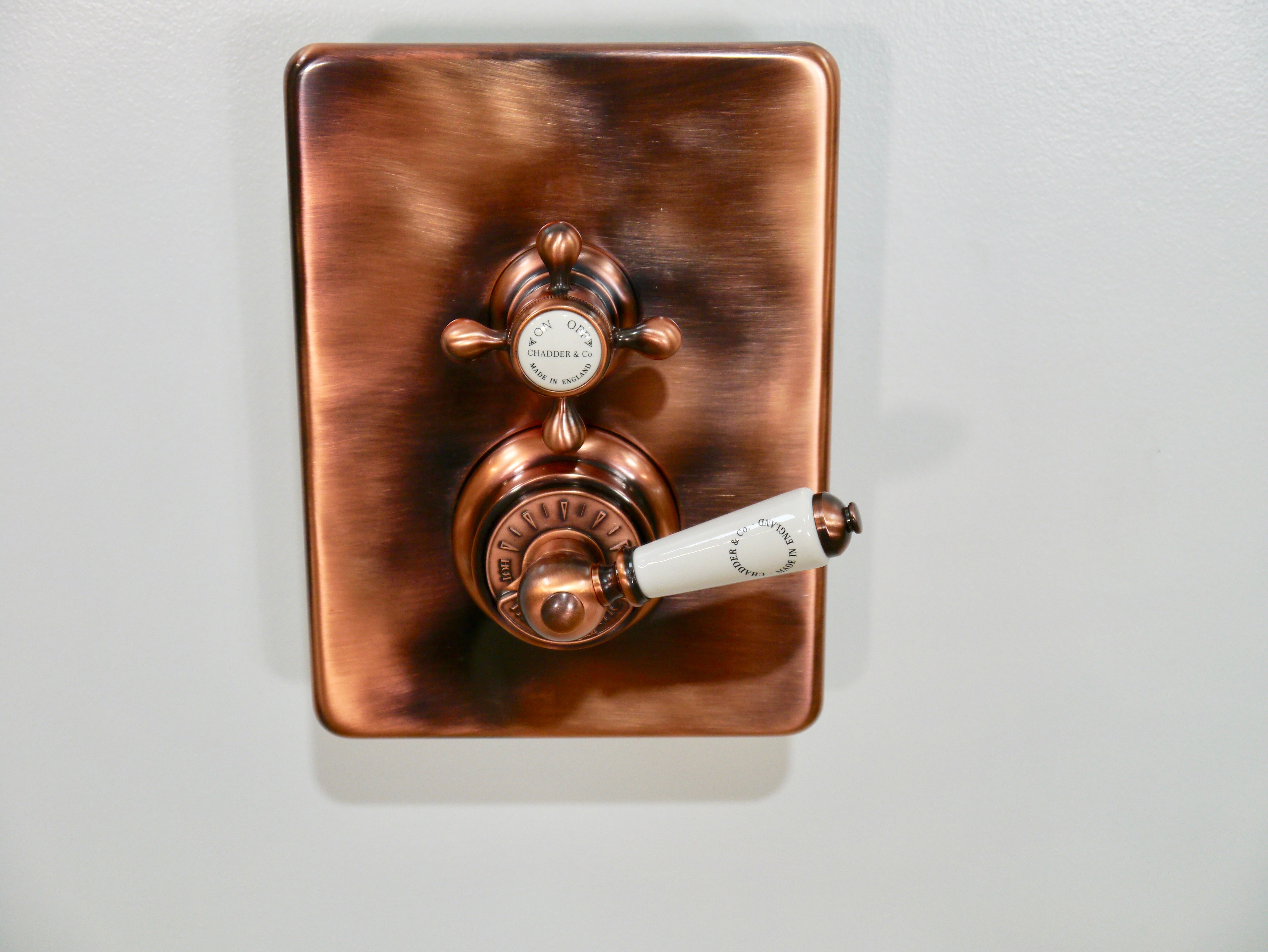 concealed shower thermostatic valve in aged copper brass