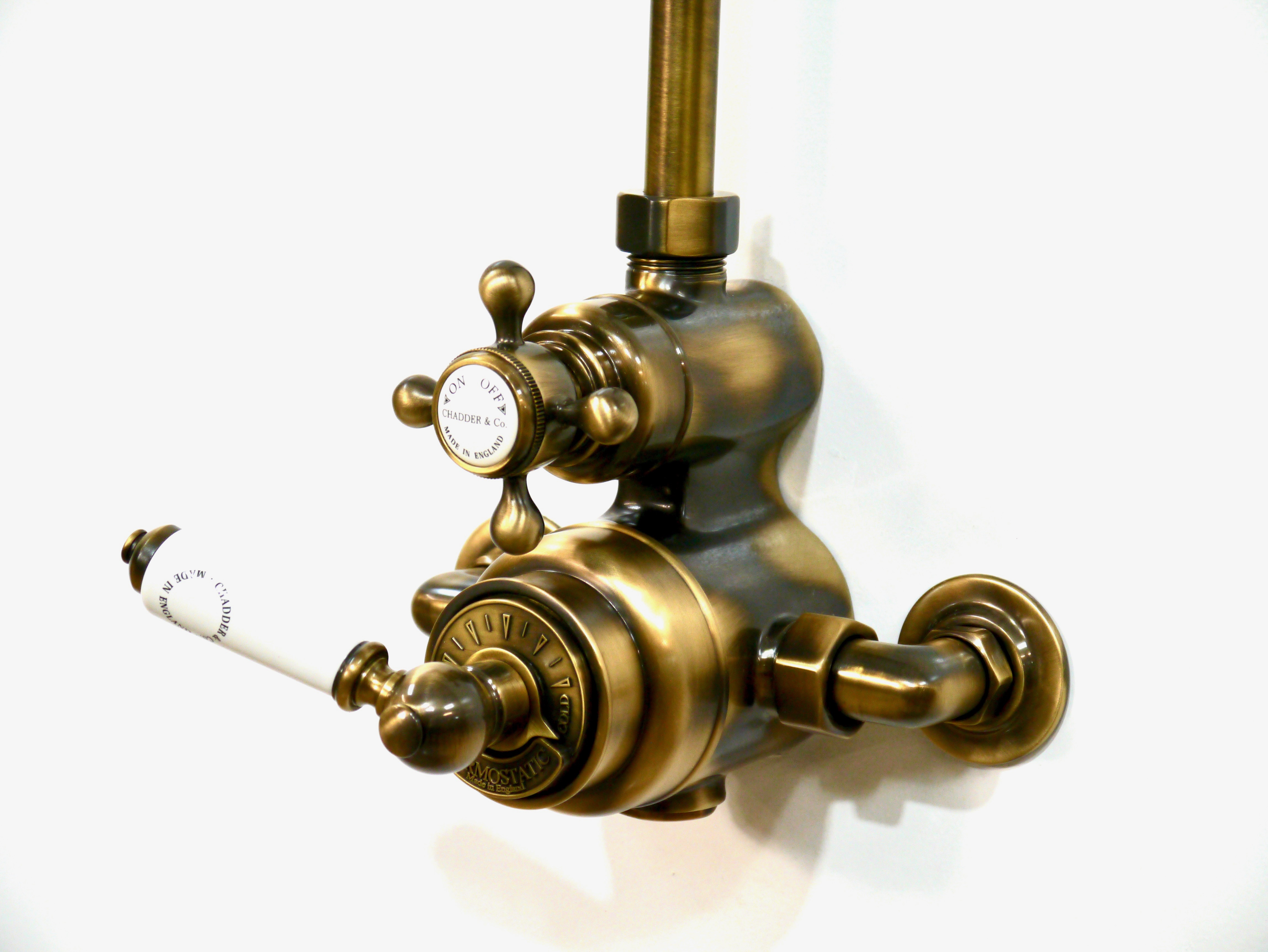 Exposed Thermostatic Valve in Aged Brass lacquered finish