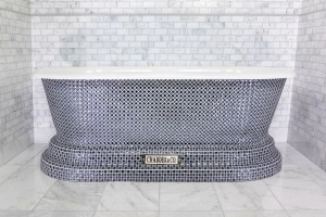 Churchill Bath with Blue Crystal Style Mosaic Exterior