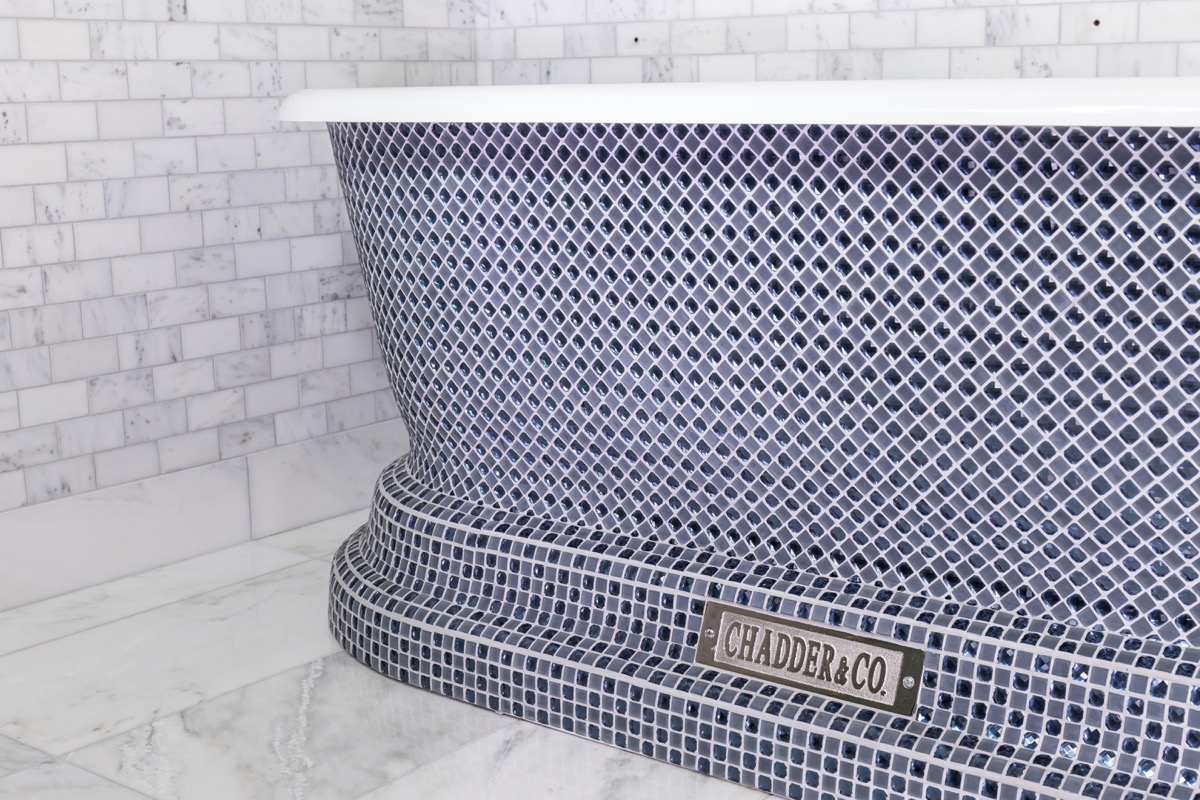 luxury bath blue crystal mosaic free standing bath chadder and co