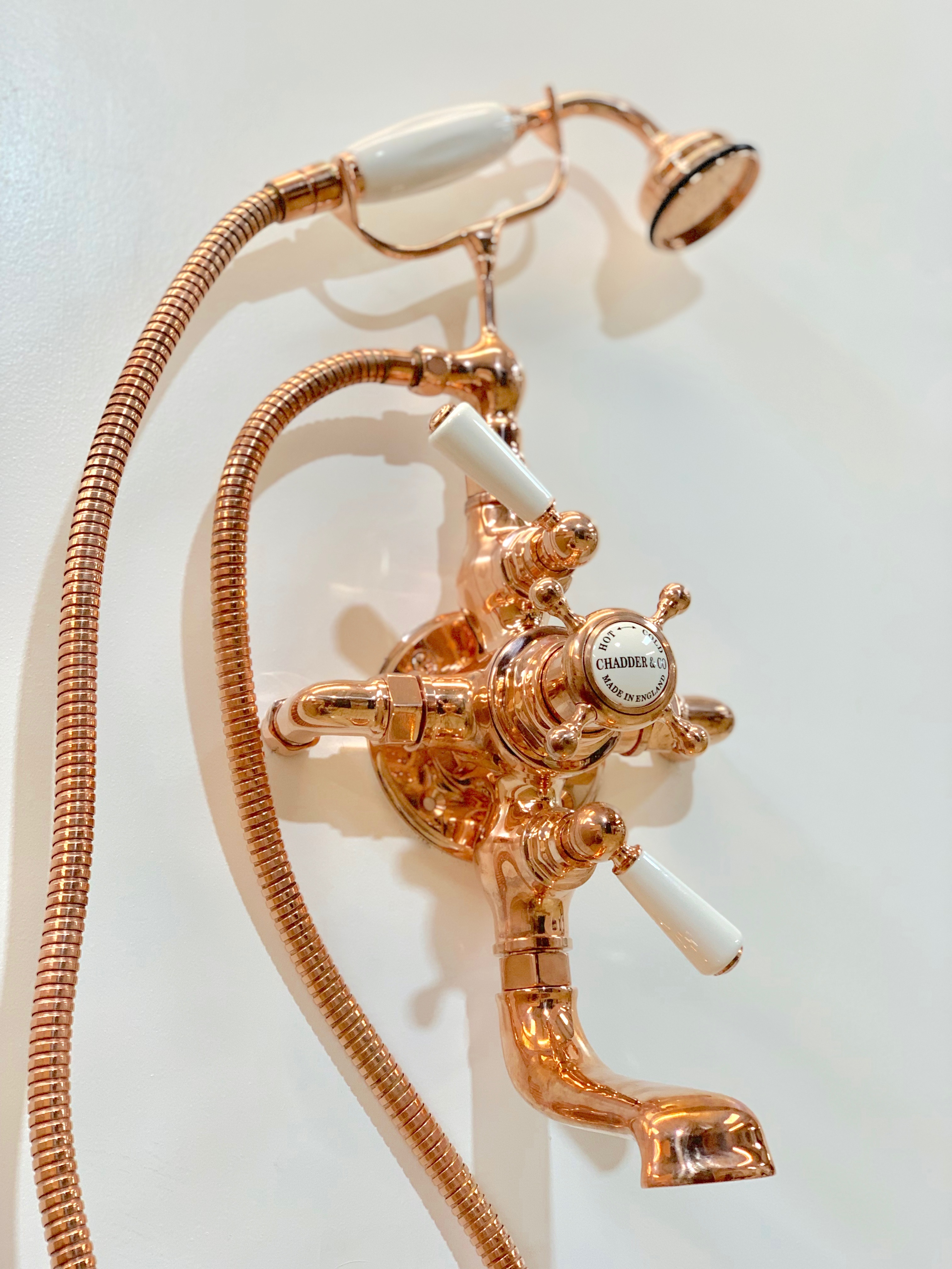 thermostaic bath and shower filler polished copper finish