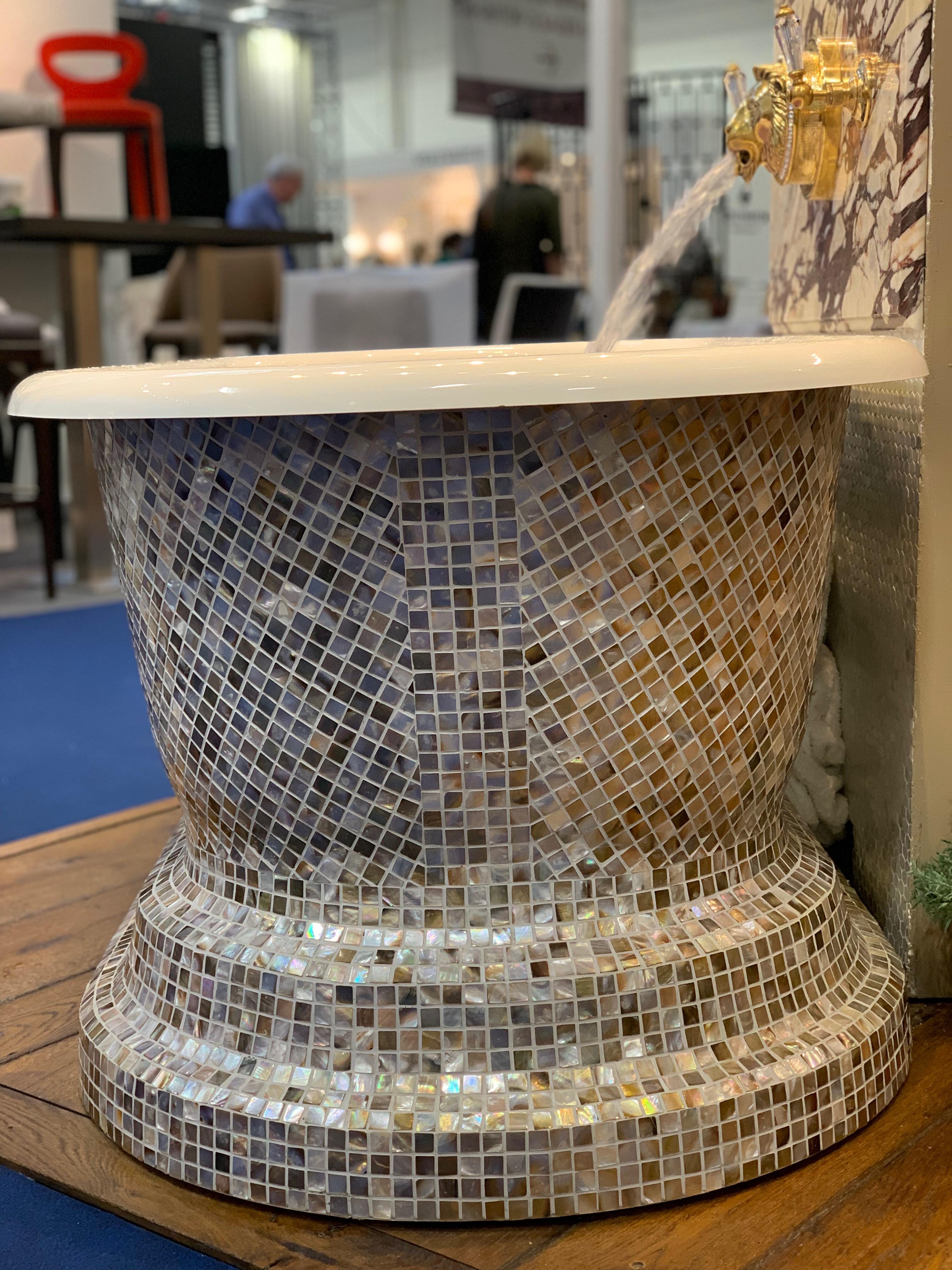 freestanding bath mosaic tub bathroom design mother of pearl